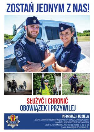 policjant i policjantka przy radiowozie