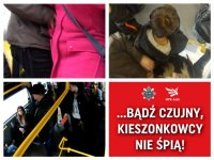 fotografie z akcji przeciwko kieszonkowcom,które pokazują jak działają złodzieje wykorzystując tłok w środkach komunikacji