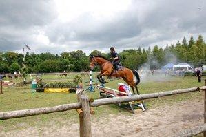 policjant na koniu, który skacze przez przeszkodę
