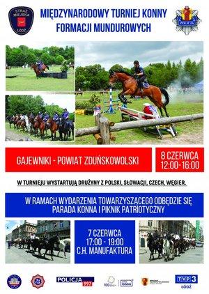 plakat turnieju na którym widac przedstawicieli różnych słuzb mundurowych na koniach zarówno na torze z przeszkodami jak i podczas parady konnej, widoczne logotypy współotrganizatorów